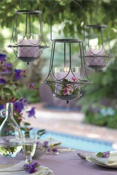 """I have a host in July having a """"sanctuary"""" theme tea party outside. Garden Sanctuary Hanging Lantern and GloLite by PartyLite® Jar Candle in Geranium Citronella™. Metal Lanterns, Candle Lanterns, Candle Jars, Candle Holders, Bougie Partylite, Candles Online, Candle In The Wind, Hanging Candles, Hanging Wire"""