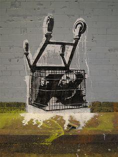 """Street art   Mural """"Shopping cart"""" by Pøbel"""