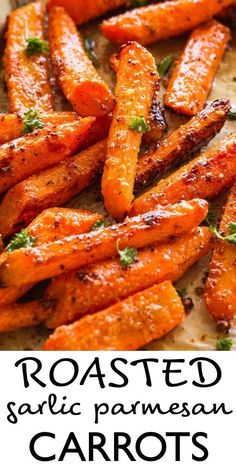 Side dish recipes 183873597275149041 - Roasted Garlic Parmesan Carrots tossed with the most flavorful garlicky and buttery parmesan cheese coating. The carrots come out sweet, tender and really delicious. Roasted Vegetable Recipes, Chicken Recipes, Recipes With Vegetables, Creamed Carrots Recipe, Recipes For Carrots, Dinner With Vegetables, Cooking Vegetables, Parmesan Recipes, Sauteed Vegetables