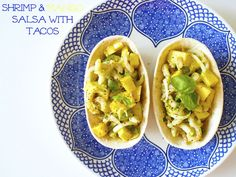 Mango-katkarapusalsa // At Maria's Mango Salsa, Vegetarian Food, Shrimp, Tacos, Ethnic Recipes, Vegetarian Cooking, Vegan Food, Vegetarian Meals, Mango Sauce