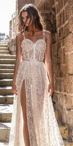featuring - eden aharon 2019 bridal sleeveless thin strap sweetheart neckline full embellishment bustier slit skirt romantic sexy a line wedding dress sweep train lv -- Eden Aharon 2019 Wedding Dresses Sexy Wedding Dresses, Designer Wedding Dresses, Bridal Dresses, Corset Prom Dresses, Dress For Wedding, Formal Prom Dresses, Different Prom Dresses, Wedding Gowns, Lace Wedding