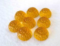 Vintage Glass Cabochons Topaz Flowers Harvest Gold