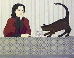Meditation and Minou | lithograph of woman at table with cat , 1980 | Will Barnet