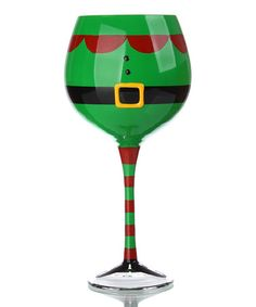 Take a look at this Slant Elf Suit Wine Glass by Festive Entertaining Collection on #zulily today! Decorated Wine Glasses, Painted Wine Glasses, Decorated Bottles, Painted Bottles, Oversized Wine Glass, Wine Glass Candle Holder, Votive Holder, Christmas Wine Glasses, Wine Bottle Crafts