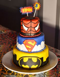 My client for this party was having a joint birthday party for her five year old twins. All the boy wanted was a super hero cake. At first he was not particularly specific about which superheroes...