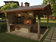 Grifo Caminetti - Progettazione 3D Barbecue, Pergola, Outdoor Structures, Home Decor, Environment, Houses, Pools, Drive Way, Gardens
