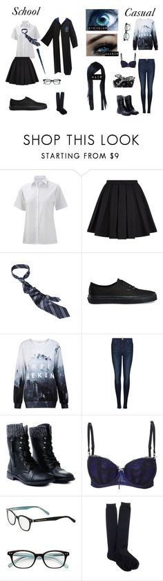 """""""Harry Potter OC: Verada Thomson"""" by tentacle-sama ❤ liked on Polyvore featuring Balmain, Vans, Dr. Denim, Elle Macpherson Intimates, Kate Spade and J.Crew"""