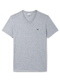 407077f7cbca Lacoste Men s Crew Neck Pima Cotton T-Shirt - Silver Grey Chine Gray