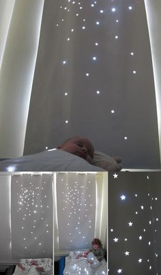 child room curtain idea: cut stars is fabric to make a starry nap time light