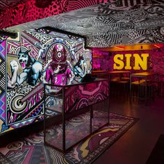 The Brighton branch is 300sqm of cavernous darkness illuminated by wall-to-wall dizzying decoration, playing on the themes of amusement arcades and seaside attractions with more than a hint of 18+ misbehaviour...
