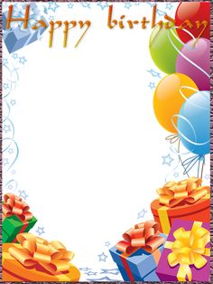 Birthday Photo Frame With Balloons, Gifts And Stars. Insert Photos - Birthday Photo Frame With Balloons, Gifts And Stars. Birthday Photo Frame, Happy Birthday Frame, Happy Birthday Photos, Birthday Frames, Birthday Background, Birthday Pictures, Happy Birthday Wishes, Birthday Greetings, Free Birthday