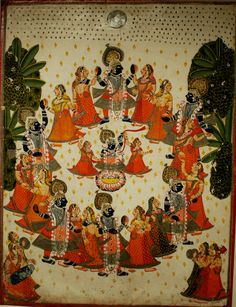 Rāsa Līlā – Śri Kṛṣṇa dancing with the Gopīs of Vṛndāvan.  Cloth embroidery, Krishna Gallery, Mumbai Museum.
