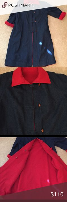 Heavy Reversible Denim and Red Boiled  Wool Coat Gently used long, winter coat; heavy an warm; no tag due to being reversible; fits 14/16 or L/XL Jackets & Coats