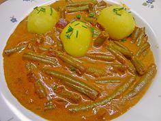 Fisolengulasch, ein sehr leckeres Rezept aus der Kategorie Eintopf. Bewertungen: 9. Durchschnitt: Ø 4,2. Thai Red Curry, Ethnic Recipes, Anna, Food, Goulash, Stew, Green Beans, Noodle Salads, Side Dishes