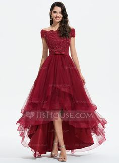 A-Line Off-the-Shoulder Asymmetrical Tulle Evening Dress With Beading Sequins Bow(s) - Evening Dresses - JJ's House Tulle Wedding, Wedding Party Dresses, Pretty Dresses, Beautiful Dresses, Mode Adidas, Tulle Bridesmaid Dress, Evening Dresses, Formal Dresses, Dresses Dresses