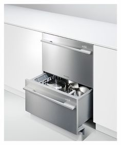 DD24DDFX7 Fisher & Paykel Double DishDrawer with Flat Doors and Straight Handle - Stainless Steel $1399