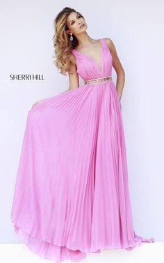 Sherri Hill 11222 Hot Pink Draped Evening Gown