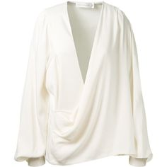 Victoria Beckham White Satin Asymmetrical Draped Blouse ($1,005) ❤ liked on Polyvore featuring tops, blouses, shirts, long sleeves, white long sleeve shirt, oversized blouse, white long sleeve top, shirt blouse and oversized long sleeve shirts