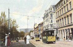 Christiania Kristiania Karl Johans gate ved Grand Hotel tidlig 1900-tall
