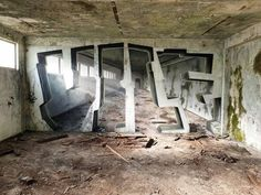 Graffiti artist Vile leaves his mark on the walls of occupied and abandoned buildings around Europe, using masterful techniques to create the illusion of depth in his painted interventions. Street Art News, Journal Du Design, Graffiti Murals, Graffiti Lettering, Colossal Art, 3d Artwork, Nature Artwork, Abandoned Buildings, Optical Illusions
