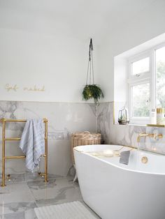 Wonderful Contemporary Bathroom Design Ideas To Inspire Diy Bathroom Lust Living The Freestanding Bath Of My Dreams Lust Living Marble Tile Bathroom, Gold Bathroom, Small Bathroom, Brown Bathroom, Marble Tiles, Upstairs Bathrooms, Dream Bathrooms, Beautiful Bathrooms, Hotel Bathrooms