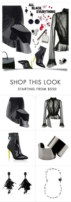 """black ☀🌜"" by tato-eleni ❤ liked on Polyvore featuring Yves Saint Laurent, Maison Margiela, Off-White, Oscar de la Renta, Chanel, Deborah Lippmann and Bobbi Brown Cosmetics"