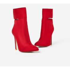 Braylon Cut Out Ankle Boot In Red Faux Suede ($53) ❤ liked on Polyvore featuring shoes, boots, ankle booties, cut out booties, cut-out ankle boots, faux suede booties, cutout ankle boots and red booties