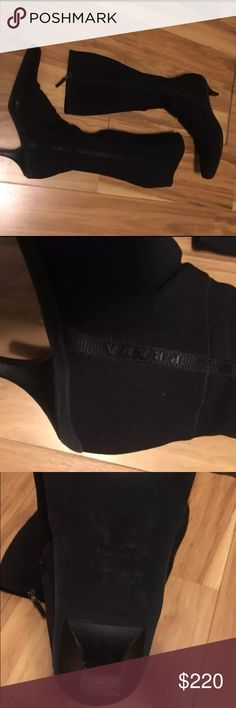 Flash sale girlss!!!! Prada stretch heeled black boots 10.5 (41) gently wear but still in really good condition and an incredible price!!! Prada Shoes Heeled Boots