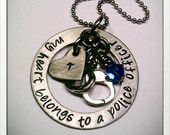 JBK Custom hand stamped My Heart Belongs to a Police Officer necklace  Jewelry By Karen