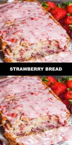 The World's Most Delicious Strawberry Bread Have fresh garden strawberries? Try … The World's Most Delicious Strawberry Bread Have fresh garden strawberries? Try this fresh strawberry bread with melt-in-your-mouth strawb… Cherry Bread, Fruit Bread, Dessert Bread, Bread Food, Food Food, Quick Bread Recipes, Baking Recipes, Cake Recipes, Dessert Recipes
