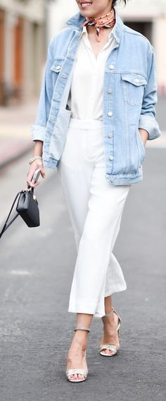 #spring #fashionistas #outfit #ideas |Denim jacket + white shirt + white culottes | 9to5 Chic