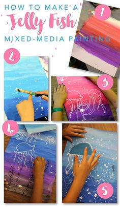 Jellyfish art project for boys and girls. Super easy drawing & painting project from Deep Space Sparkle #artpainting