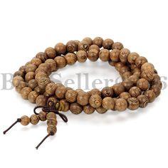 Holz Armband Halskette tibetisch-buddhistische Gebetskette Buddha Braun