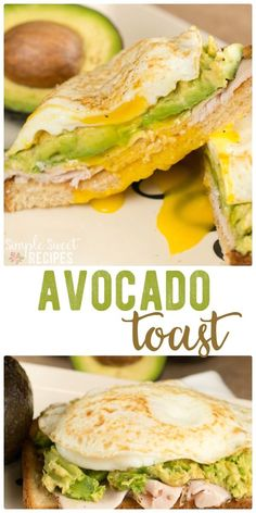 Avocado toast is the ultimate healthy breakfast recipe that's so incredibly easy. Layer turkey, a fried egg, and a big scoop of avocado! It is wholesome and delicious. via @simplesweetrecipes