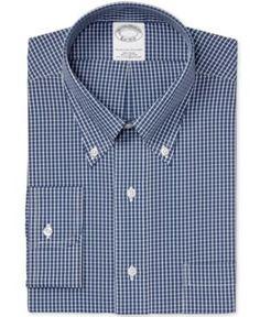 Brooks Brothers Men's Slim-Fit Non-Iron Navy Check Dress Shirt - Blue 15.5 34
