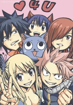 Lucy Heartfilia, Natsu Dragneel, Gray Fullbuster, Erza Scarlet, Wendy Marvell and Happy Fairy Tail Lucy, Fairy Tail Manga, Image Fairy Tail, Fairy Tale Anime, Fairy Tail Family, Fairy Tail Guild, Fairy Tail Ships, Fairy Tales, Fairytail