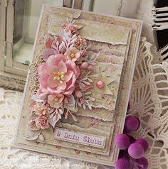 """W ten mroźny dzień u mnie kwiatowo...warstwowa karteczka z okazji ślub...            ***   """"Po prostu BĄDŹ SOBĄ. To zawsze wystarczy.""""   R...."""