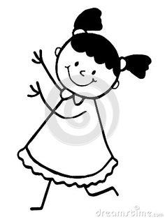 Stick figure happy fat running girl