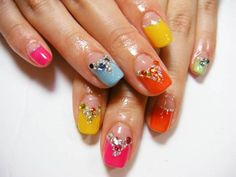 Super Pretty Rainbow Colored Pink Blue Green Yellow Orange Japanese Nail Art Manicure with Rhinestones