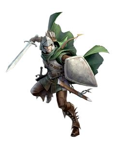 Male Human Shield and Sword Fighter - Pathfinder PFRPG DND D&D d20 fantasy