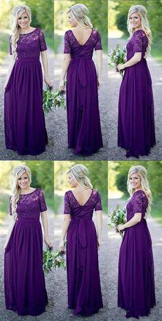 cb033b6618 Elegant Purple A Line V Back Long Chiffon Evening Dresses Bridesmaid Dresses