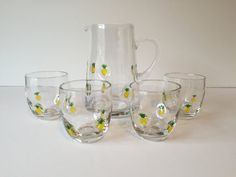 Vintage Pitcher and Glasses Set Pineapple by GirlGoesVintage