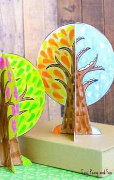 Four Seasons Tree Crafts with Stencil - Easy Peasy and Fun - Fall Crafts For Kids Kids Crafts, Fall Crafts For Toddlers, Tree Crafts, Toddler Crafts, Seasons Kindergarten, Kindergarten Crafts, Preschool Crafts, Preschool Seasons, Fall Arts And Crafts