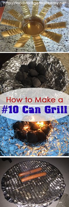 How to Make a #10 Can Grill:  Great for portable powerless cooking, or use as a replacement for a full size barbecue grill.