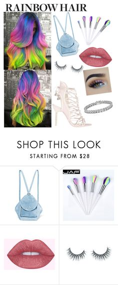 """""""Rainbow Hair"""" by iluvanimals1200 ❤ liked on Polyvore featuring beauty, MANU Atelier, Unicorn Lashes and Apples & Figs"""