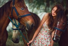In Love ::Girl with a ginger hair and 3 young horses. Punta Cana, Dominican Republic::