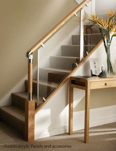 great staircases using glass | Glass and wood railing - FUSION® - Stair Plan If you have to use glass this is a great choice.
