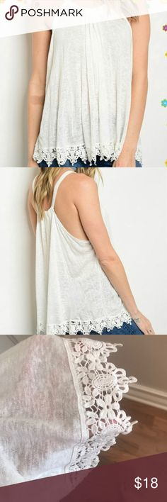 NEW Cream Crochet Lace Halter Tank Boho Unbelievably soft and GREAT quality. Color falls between white and cream. More of an off white. The detail of the lace is impeccable! Very flowy, can easily be worn up to an XL. Reasonable offers accepted via offer button only. No trades. I strive to maintain good feedback. I'm a real person. If for any reason you are unhappy with your purchase, please contact me. Coffee Bean's Boutique Tops Tank Tops