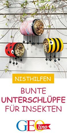 Bunte Nisthilfen: Wir bauen Insekten-Dosen We build colorful nesting aids for insects – and show you GEOLINO.de the instructions for replicating! L Wallpaper, Bug Hotel, Diy Y Manualidades, Bermuda Triangle, Diy Crafts For Kids, Summer Crafts, Kids Diy, Fall Crafts, Easter Crafts