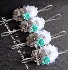 Gray, White & Mint Green Baby Girl Headband - Shabby Chiffon Flower Hair Bow for Babies, Toddlers, Little Girls in White, Gray, Mint Green by MLSPhotoWorksShop on Etsy https://www.etsy.com/listing/157956128/gray-white-mint-green-baby-girl-headband